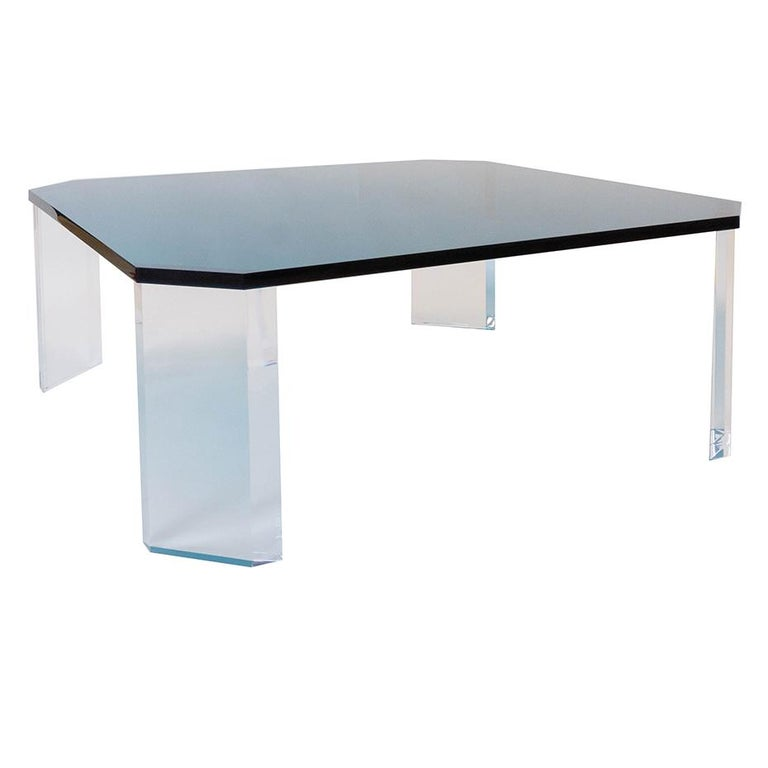 Charles Modern 47 Square Glass Top Coffee Table W: Lucite Coffee Table For Sale At 1stdibs