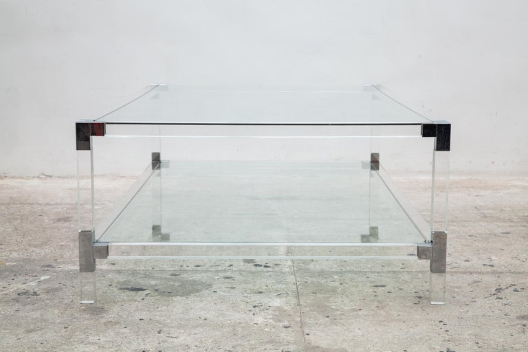 Lucite Coffee Table with Glass Top, 1970s, Belgo Chrome, Belgium 3