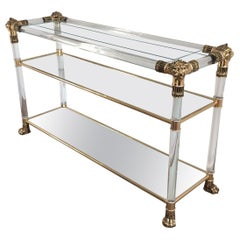 Lucite Console Table with Gild Lion Heads and Claw Feet, French, circa 1970