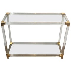 Lucite Console Table with Gold Gilt Corners, French, circa 1970