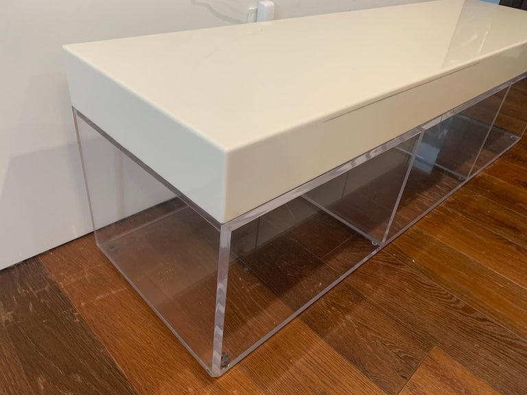 Lucite and Corian Bench by Cain Modern For Sale 5