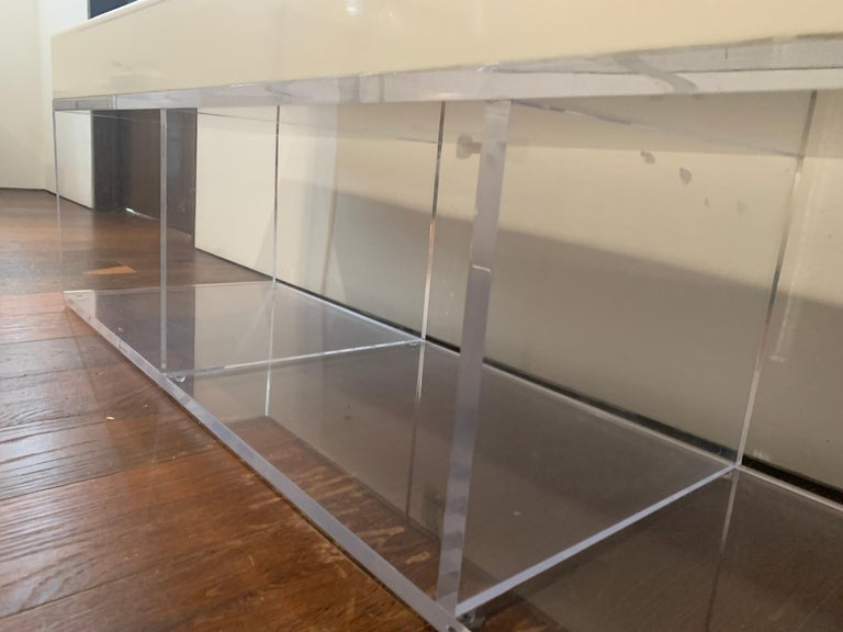 Lucite and Corian Bench by Cain Modern For Sale 6