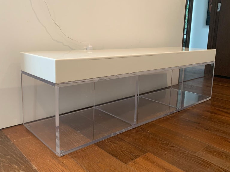 Lucite and Corian Bench by Cain Modern For Sale 7