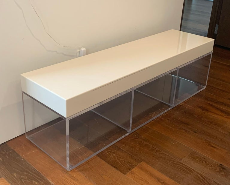 American Lucite and Corian Bench by Cain Modern For Sale