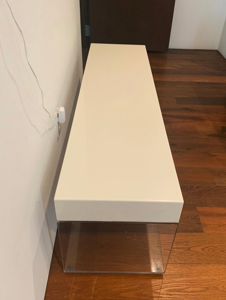 Lucite and Corian Bench by Cain Modern In Good Condition For Sale In Los Angeles, CA