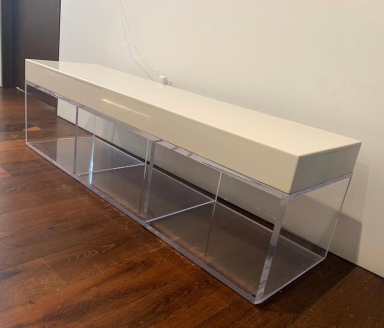 Contemporary Lucite and Corian Bench by Cain Modern For Sale