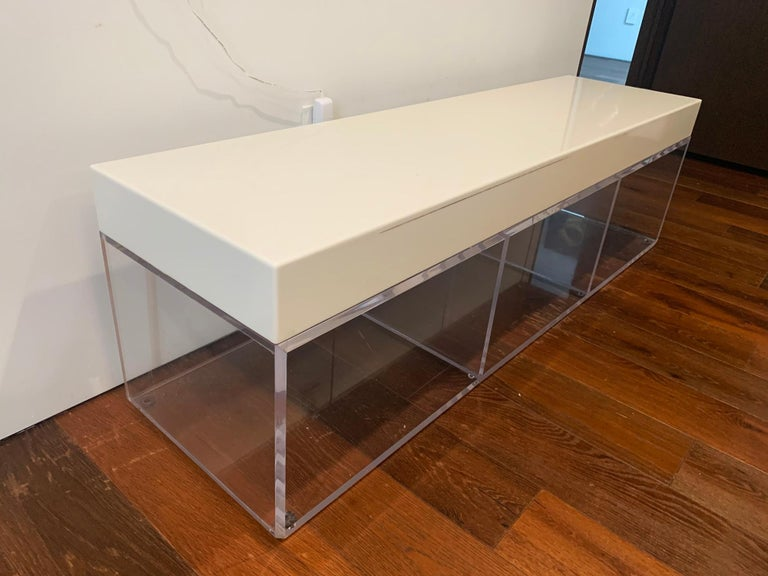 Lucite and Corian Bench by Cain Modern For Sale 1