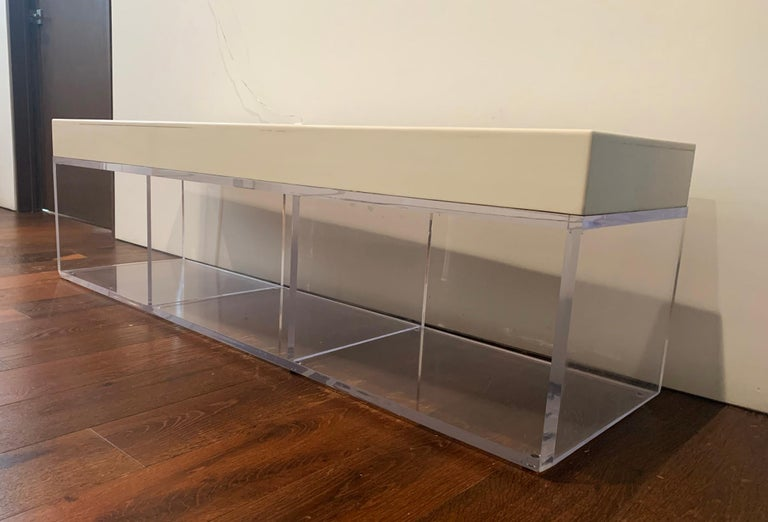 Lucite and Corian Bench by Cain Modern For Sale 2