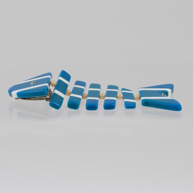 Women's or Men's Lucite Dangle Clip Earrings Blue White FishBone For Sale