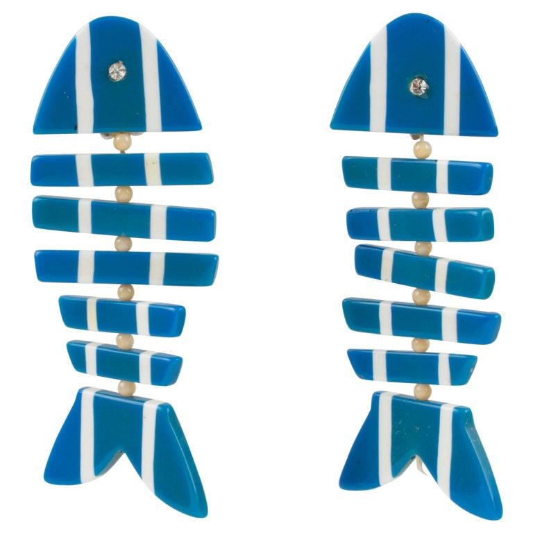 Lucite Dangle Clip Earrings Blue White FishBone For Sale