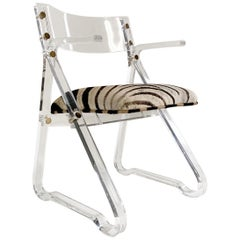 Lucite Desk Chair in Zebra Hide