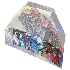 "Lucite ""Diamond"" Sculpture with Infused Colors"