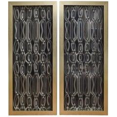 Lucite Dimensional Sculptural Panels Custom Framed Pair of Vintage