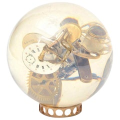 Lucite Embedded Brass Clock Parts Ball Sculpture Vintage, French