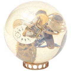 Lucite Embedded Clock Parts Ball Sculpture Vintage, French