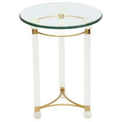 Lucite End Table Round Glass Top