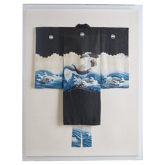Lucite Framed Japanese Painted Kimono with Waves