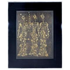 Lucite Framed Signed Bronze Relief Wall Sculpture Jerusalem Girls Moshe Castel