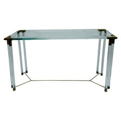 Lucite, Glass and Brass Console Table in the Manner of Charles Hollis Jones