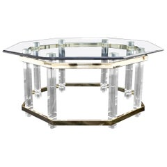 Lucite Glass and Brass Round Octagon Shape Coffee Table