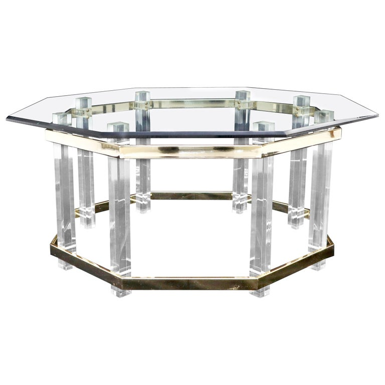 Lucite Glass and Brass Round Octagon Shape Coffee Table For Sale