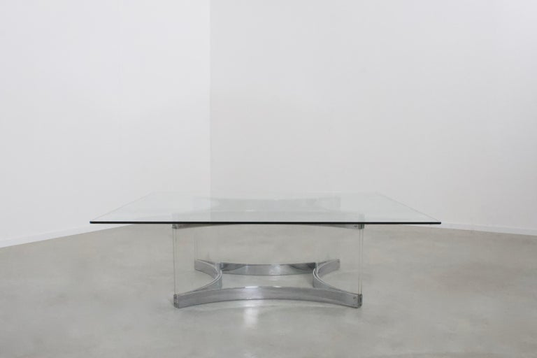 Mid-Century Modern Lucite, Glass and Chrome Coffee Table by Alessandro Albrizzi, 1970s For Sale