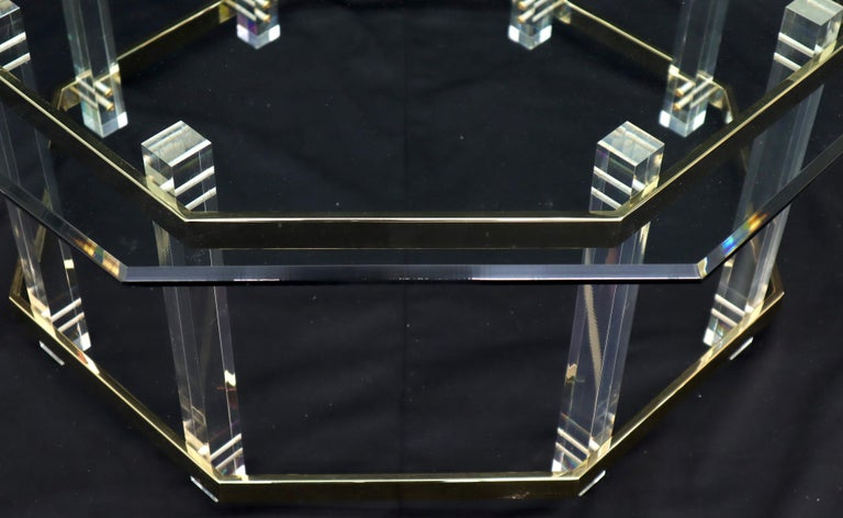 Lucite Glass and Brass Round Octagon Shape Coffee Table For Sale 4