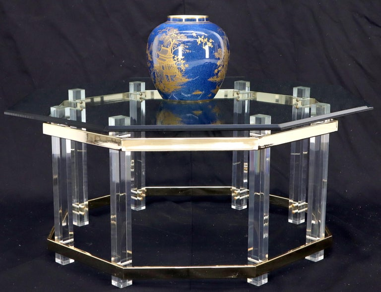 Lucite Glass and Brass Round Octagon Shape Coffee Table For Sale 5