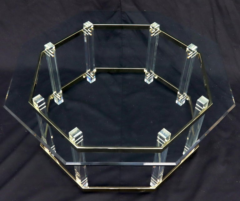 Mid-Century Modern Lucite Glass and Brass Round Octagon Shape Coffee Table For Sale