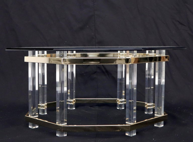 American Lucite Glass and Brass Round Octagon Shape Coffee Table For Sale