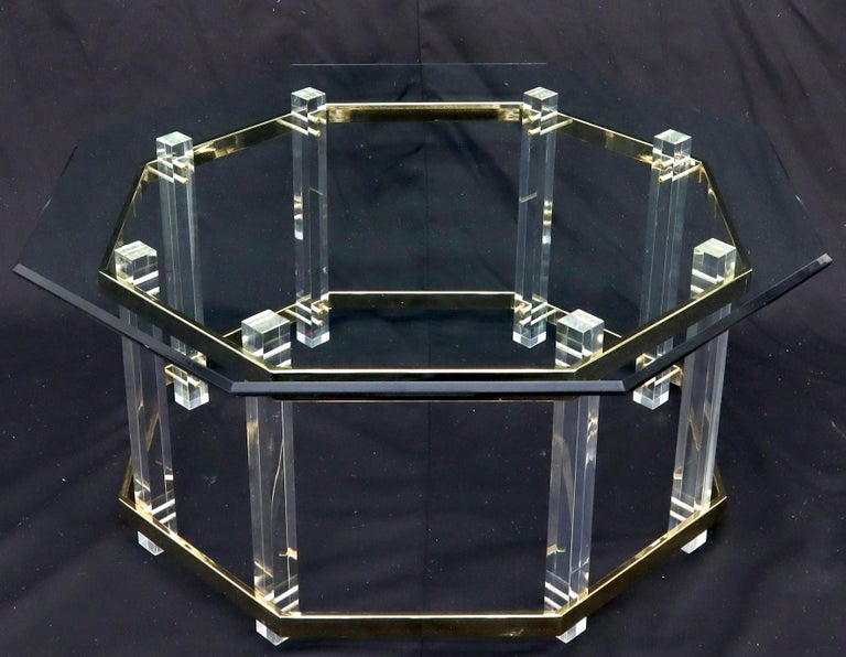 20th Century Lucite Glass and Brass Round Octagon Shape Coffee Table For Sale