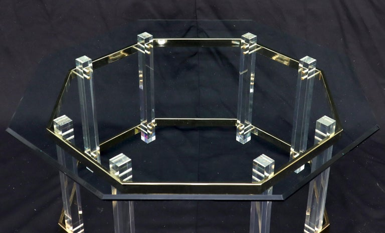 Lucite Glass and Brass Round Octagon Shape Coffee Table For Sale 1