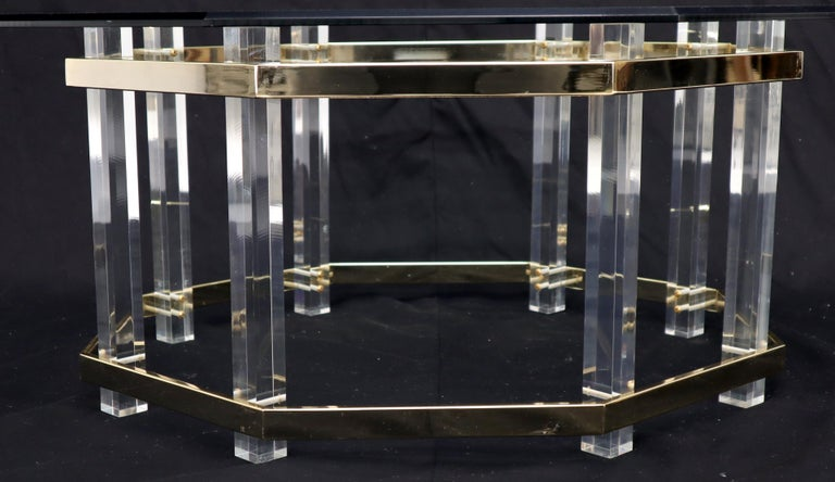 Lucite Glass and Brass Round Octagon Shape Coffee Table For Sale 2