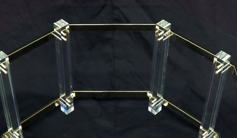 Lucite Glass and Brass Round Octagon Shape Coffee Table For Sale 3
