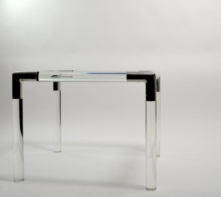 American Lucite Glass Table by Charles Hollis Jones For Sale