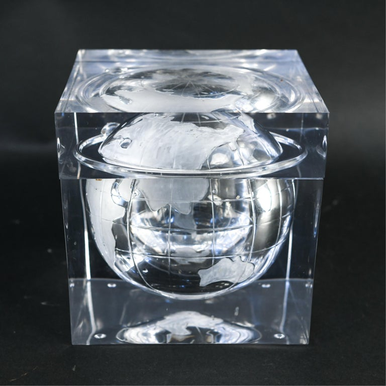 Mid-Century Modern Lucite Globe Ice Bucket For Sale