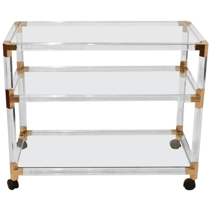 Lucite and Gold French Barcart, 1970s