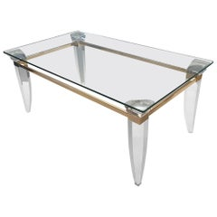 Lucite, Gold Plating and Glass Coffee Table with Assymetrical Table Legs, 1980s