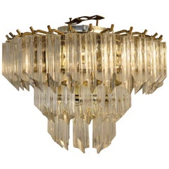 Lucite Hanging Triad Prisms with Brass Frame Venini Style Flushmount Chandelier
