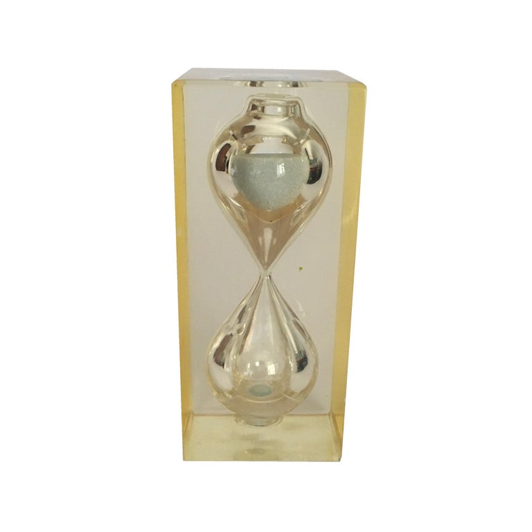 French Lucite Hourglass Paperweight by Pierre Giraudon, circa 1970 For Sale