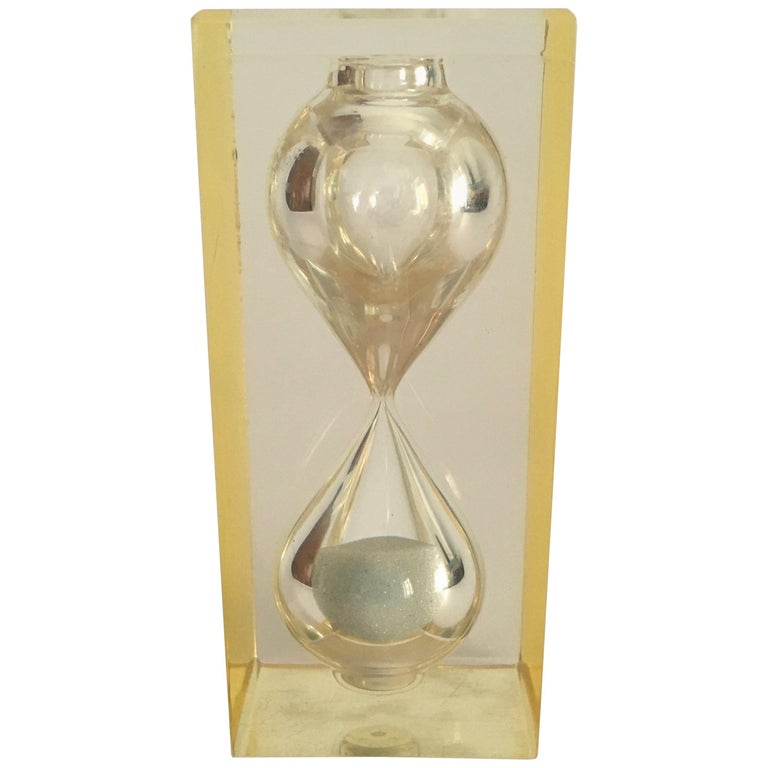 Lucite Hourglass Paperweight by Pierre Giraudon, circa 1970 For Sale