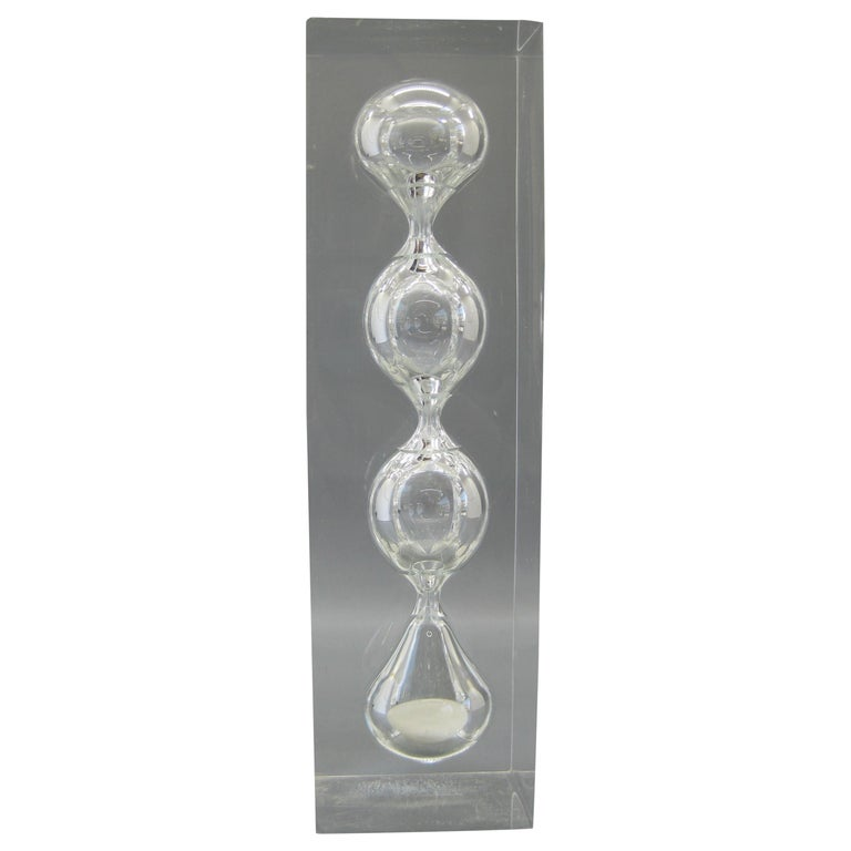 Lucite Hourglass Sand Timer Sculpture in the Manner of Charles Hollis Jones For Sale