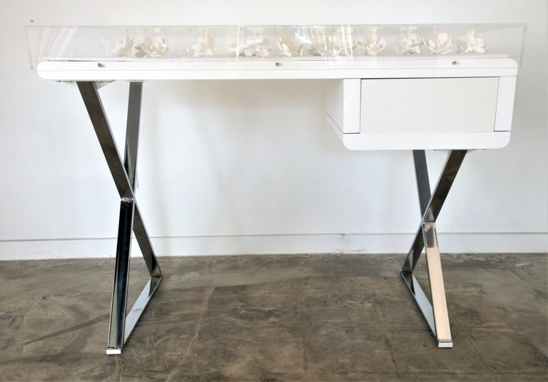 Lacquered Lucite Object D'art White Lacquer & Metal X Base Desk by AMK for Patricia Kagan