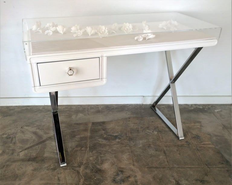 American Lucite Object D'art White Lacquer & Metal X Base Desk by AMK for Patricia Kagan