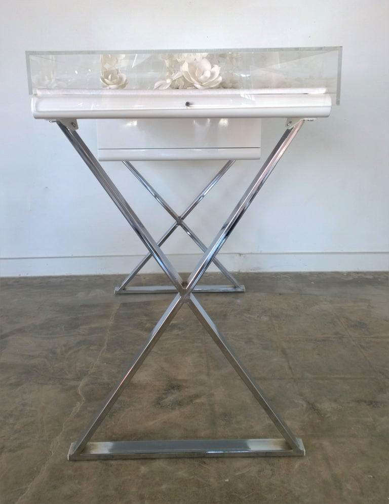 Contemporary Lucite Object D'art White Lacquer & Metal X Base Desk by AMK for Patricia Kagan