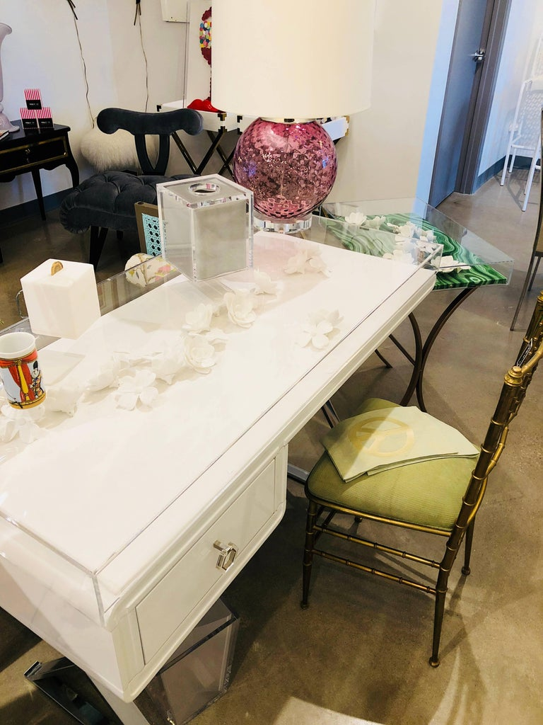 Lucite Object D'art White Lacquer & Metal X Base Desk by AMK for Patricia Kagan 12