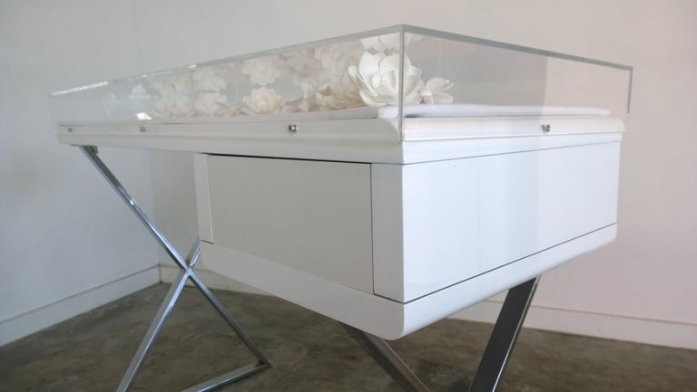 Lucite Object D'art White Lacquer & Metal X Base Desk by AMK for Patricia Kagan 1