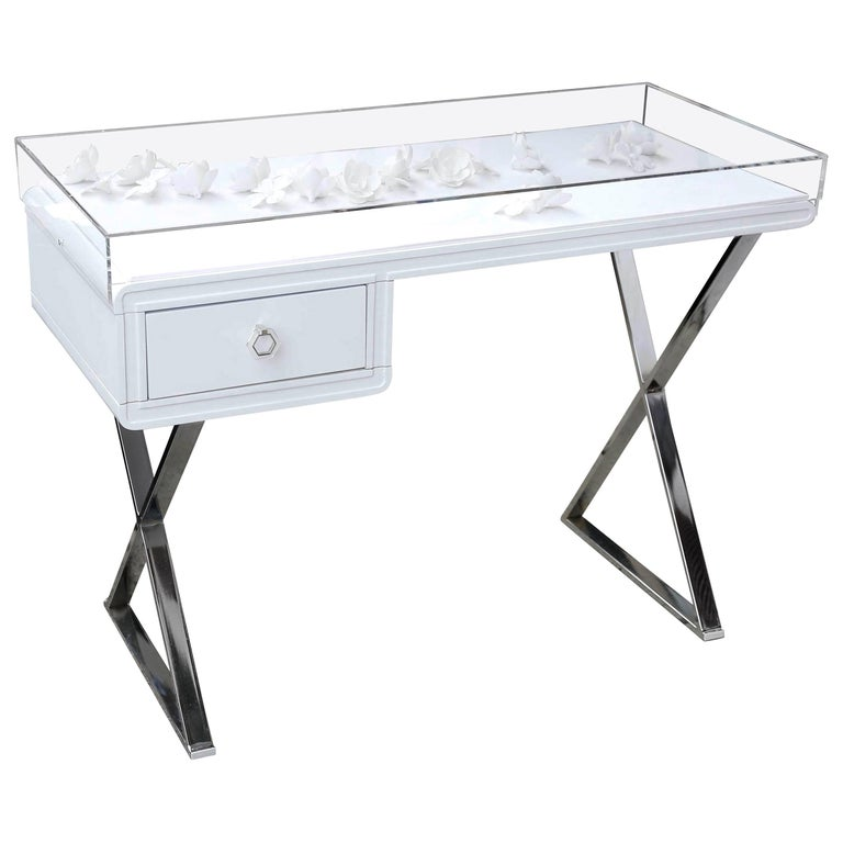 Lucite Object D'art White Lacquer & Metal X Base Desk by AMK for Patricia Kagan