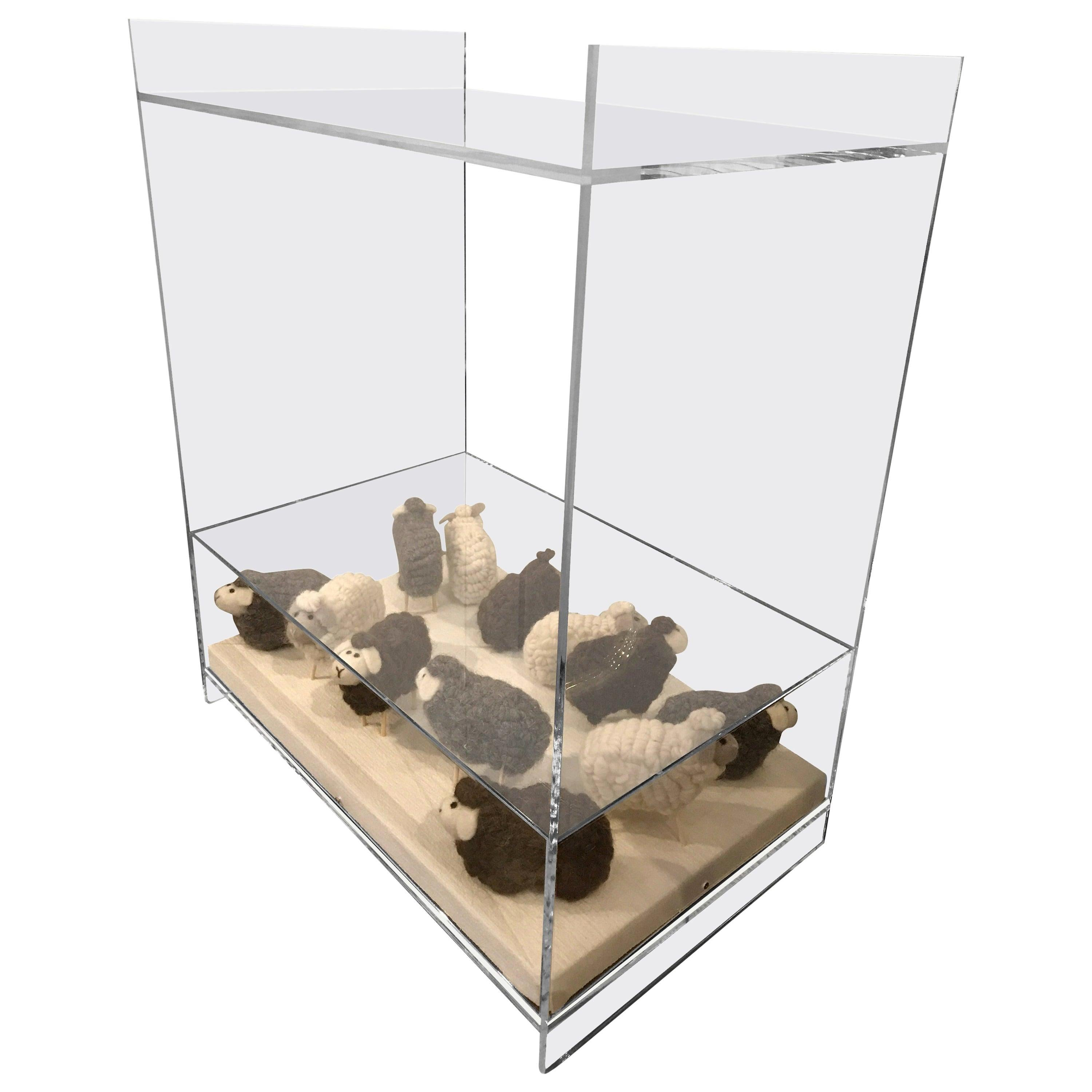 Lucite Object d'art Wooly Sheep Bedside or Side Table by AMK for Patricia Kagan