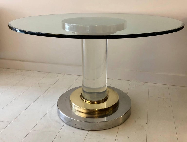 Italian Lucite Pedestal Table by Romeo Rega